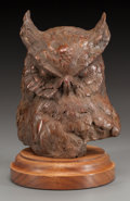 Fine Art - Sculpture, American:Contemporary (1950 to present), SANDY SCOTT (American, b. 1943). Owl's Head. Bronze with brown patina. 6-5/8 inches (16.8 cm) high on a 1-1/4 inches (3....