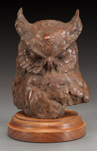 SANDY SCOTT (American, b. 1943) Owl's Head Bronze with brown patina 6-5/8 inches (16.8 cm) high o