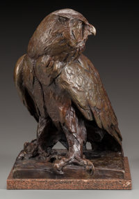 WALTER MATIA (American, b. 1953) Owl, 1991 Bronze with brown patina 13-1/2 (34.3 cm) high on a 7/