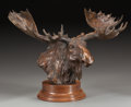 Sculpture, SANDY SCOTT (American, b. 1943). Moose Head, 1997. Bronze with brown patina. 12-3/4 inches (32.4 cm) high on a 3 inches ...