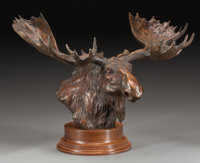 SANDY SCOTT (American, b. 1943) Moose Head, 1997 Bronze with brown patina 12-3/4 inches (32.4 cm)