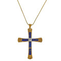 Estate Jewelry:Necklaces, Lapis Lazuli, Diamond, Gold Pendant-Necklace. ...
