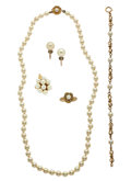 Estate Jewelry:Lots, Lot of Cultured Pearl, Gold Jewelry. ... (Total: 5 Items)