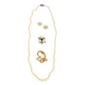Estate Jewelry:Lots, Lot of Cultured Pearl, Gold Jewelry. ... (Total: 4 Items)