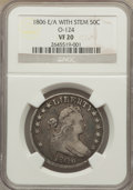 Early Half Dollars, 1806 50C E Over A with Stem, O-124, R.6, VF20 NGC. ...