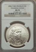 Modern Issues, 2006-P $1 Ben Franklin, Founding Father MS70 NGC. This lot also includes: 2007-P $1 Jamestown MS70 NGC; and a 2009£... (Total: 3 coins)