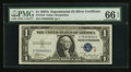 Small Size:Silver Certificates, Fr. 1610 $1 1935A S Silver Certificate. PMG Gem Uncirculated 66 EPQ.. ...