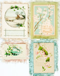 Miscellaneous:Postcards, Group of Four Vintage Christmas Cards with Fringe Trim. Ca.early-20th century. Some soiling. Very good. From thecollecti...