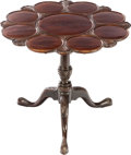 Furniture , A GEORGE II-STYLE TILT-TOP MAHOGANY TEA TABLE, late 19th century. 28 inches high x 31 inches diameter (71.1 x 78.7 cm). ...