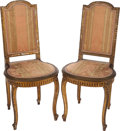 Furniture : French, A PAIR OF LOUIS XVI-STYLE GILT WOOD SIDE CHAIRS, circa 1800. 37-1/2 x 17 x 17 inches (95.3 x 43.2 x 43.2 cm). ... (Total: 2 Items)