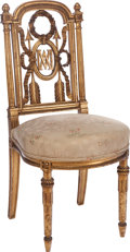 Furniture : French, A LOUIS XVI-STYLE MARIE ANTOINETTE PARCEL GILT WOOD SIDECHAIR, 19th century. 38 x 18 x 18 inches (96.5 x 45.7 x...