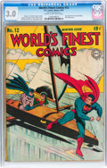 Golden Age (1938-1955):Superhero, World's Finest Comics #12 (DC, 1943) CGC GD/VG 3.0 Cream to off-white pages....