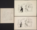 Books:Original Art, New Yorker Gag Drawing of a Woman in a Factory. Includes a preliminary pencil sketch and a preliminary pen and ink d... (Total: 3 Items)