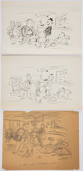 Books:Original Art, New Yorker Gag Drawing. Includes a preliminary pencil sketch and a preliminary pen and ink drawing. All are signed... (Total: 3 Items)