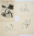 Books:Original Art, Five New Yorker Cartoons with a Wartime Theme. Pen and ink and watercolor. All are signed by Williams. Most ... (Total: 5 Items)