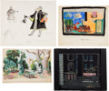 Books:Original Art, Group of Approximately Fifteen Watercolors and Sketches for Theater Set Designs and Costumes. Most are either initialed or...