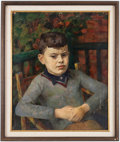Books:Original Art, Painting of a Young Boy. . Oil on board. . Framed to an overall size of 23 x 27 inches. . Some areas of abrading to painting...