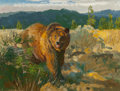 Fine Art - Painting, American:Contemporary   (1950 to present)  , ROBERT E. LOUGHEED (American, 1910-1982). Grizzly Country,1981. Oil on board. 12 x 16 inches (30.5 x 40.6 cm). Signed l...