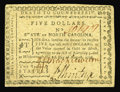 "Colonial Notes:North Carolina, North Carolina August 8, 1778 $5 Choice New. A near-Gem example ofthis popular note, which bears the motto ""The Rising Stat..."
