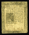 Colonial Notes:Pennsylvania, Pennsylvania March 10, 1757 20s Very Fine+. This pleasing examplewhich has been quarter-folded carries an inverted reverse....