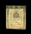 "Colonial Notes:Pennsylvania, Pennsylvania July 20, 1775 10s Extremely Fine. This ""A"" plate notehas a couple of folds visible more on the back with a the..."