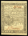 Colonial Notes:Pennsylvania, Pennsylvania April 10, 1777 9d Gem New. A common issue, butcertainly uncommon in this grade. Boldly signed in red, beautifu...