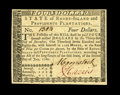 Colonial Notes:Rhode Island, Rhode Island July 2, 1780 $4 Gem New. Nice margins envelope thisboldly printed Remainder example with solid signatures on t...