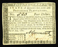 Colonial Notes:Rhode Island, Rhode Island July 2, 1780 $4 Choice About New. A very slight cornerbend is noticed on this nice problem-free example, fully...
