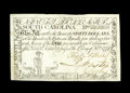 Colonial Notes:South Carolina, South Carolina February 8, 1779 $90 Fine-Very Fine. The print onthis note is still quite dark. The popular reverse design s...