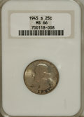1945-S 25C MS66 NGC. NGC Census: (510/151). PCGS Population (457/33). Mintage: 17,004,000. Numismedia Wsl. Price for NGC...