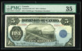 Canadian Currency: , DC-21f $5 1912 PMG Choice Very Fine 35. This example is cut tight at the bottom and shows a touch of the note above. These T...