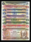 Canadian Currency: , Canadian Specimen Nine Note Set Choice AU to Choice CU includingBC-46aS $1 1973; BC-47aS $2 1974; BC-48aS $5 1972; BC-49aS...(Total: 9 notes)