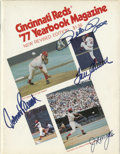Autographs:Others, 1977 Cincinnati Reds Yearbook Signed by 4. Hall of Fame Big RedMachine heroes Joe Morgan, Johnny Bench and Tom Seaver are ...