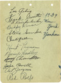 Autographs:Letters, 1939 New York Yankees Signed Sheet. A sheet from an autograph bookadorned with the signatures of 12 members of the 1939 Ne...
