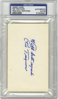 Autographs:Index Cards, Pie Traynor Signed Index Card, PSA Authentic. The long-time Pittsburgh Pirates star Pie Traynor has been mentioned as perha...