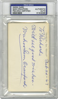 "Autographs:Index Cards, 1967 Sam Crawford Signed Index Card, PSA Authentic. The acclaimedhitter of triples Sam Crawford has penned ""To Richard: Wi..."