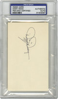 Autographs:Index Cards, Dizzy Dean Signed Index Card PSA Authentic. The exciting Hall of Fame hurler for the St. Louis Cardinals' Gas House Gang sq...