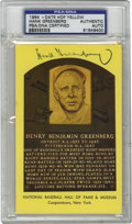 Autographs:Post Cards, Hank Greenberg Signed Gold Hall of Fame Plaque, PSA Authentic.What's remarkable about the numbers that the great Hank Gree...