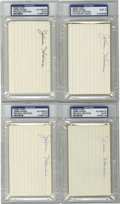 Autographs:Index Cards, Jesse Haines Signed Index Cards, PSA-Graded Group Lot of 4. Thesolid knuckleballer Jesse Haines spent a total of 18 years ...