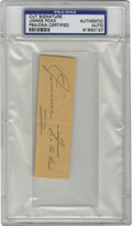 Autographs:Letters, Jimmie Foxx Cut Signature, PSA Authentic. Beautiful example ofDouble X's desirable Hall of Fame signature presents here wi...