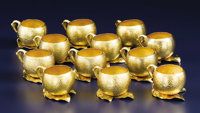 A Set of Twelve American Silver Gilt Punch Cups  Gorham Manufacturing Co., Providence, Rhode Island 1886