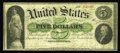 Fr. 2 $5 1861 Demand Note Fine. There is a very short edge tear at the left and a few pinholes, but the pen signatures a...