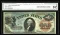 Large Size:Legal Tender Notes, Fr. 18 $1 1869 Legal Tender CGA Gem Uncirculated 67. A gorgeousRainbow Ace, with spectacular color and very nice margins. T...