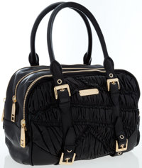 Burberry Black Leather Moselle Bowling Bag with Gold Hardware