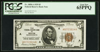 Fr. 1850-A $5 1929 Federal Reserve Bank Note. PCGS Gem New 65PPQ