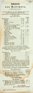 Miscellaneous:Broadside, Antique German Broadside Advertising Train Fares. N.d. Measures 14x 5 inches. Large dampstain. Edgewear. Good. . ...