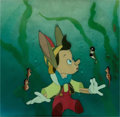 Animation Art:Production Cel, Pinocchio Underwater Production Cel and Courvoisier Background Setup (Walt Disney, 1940)....