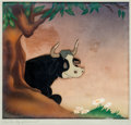 Animation Art:Production Cel, Ferdinand the Bull Production Cel and Painted Courvoisier Background Setup (Walt Disney, 1938)....