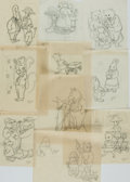 Books:Prints & Leaves, Garth Williams. Group of Ten Original Preliminary Pencil Sketches for the Tiny Golden Books Series. Each initial...