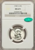 Washington Quarters, 1940-S 25C MS67+ NGC. CAC....